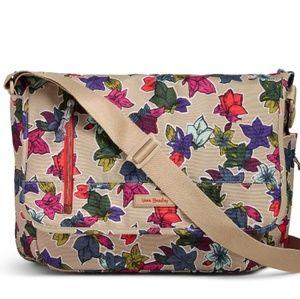 Vera Bradley laptop messenger Falling Flowers NWT